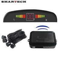 GPS do carro Kit Backlight Display LED Sensor De Estacionamento 4 Sensores Radar Backup do Sistema Reverso Backup Radar Monitor Som da Campainha de Alarme