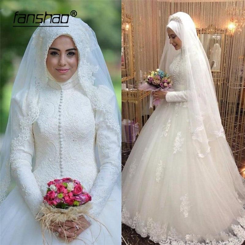 2019 Muslim Wedding Dresses Appliques Scarf Hijab Wedding Dress Tulle Abiye Abiti Da Sposa Wedding Gown Bride Dress