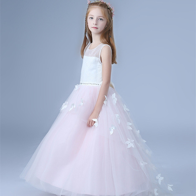 d46c521ccf97 Formal Princess Long Girls Dress Wedding White Pink Fancy Flower Girl  Vestido 2018 Kid Clothes 3 4 6 8 10 12 14 Years RKF184018