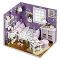 Sweet Sunshine Bedroom Scene Small DIY Wood Doll house 3D Miniature Dust cover+Lights+Furnitures Home&Store decoration Adult Toy