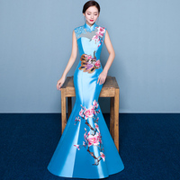 100%real chinese traditional phonix and yulan flower embroidery mermaid dress/royal blue/hot pink/red/purple can customs size