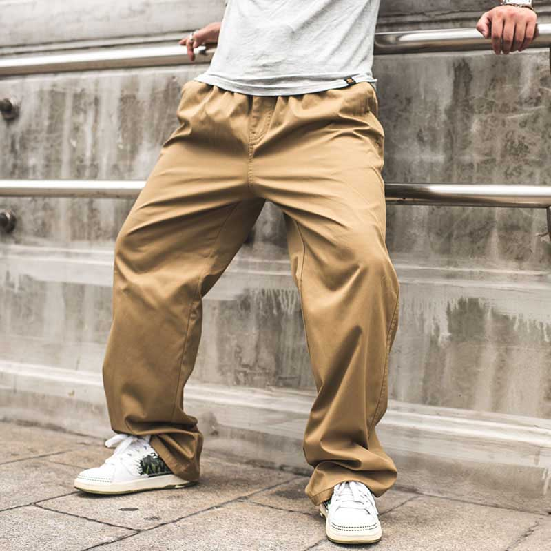 New Fashion Men Cargo Pants Loose Baggy Elastic Waist Side Zipper Pocket Casual Trousers Plus Size Joggers Spring Autumn Summer