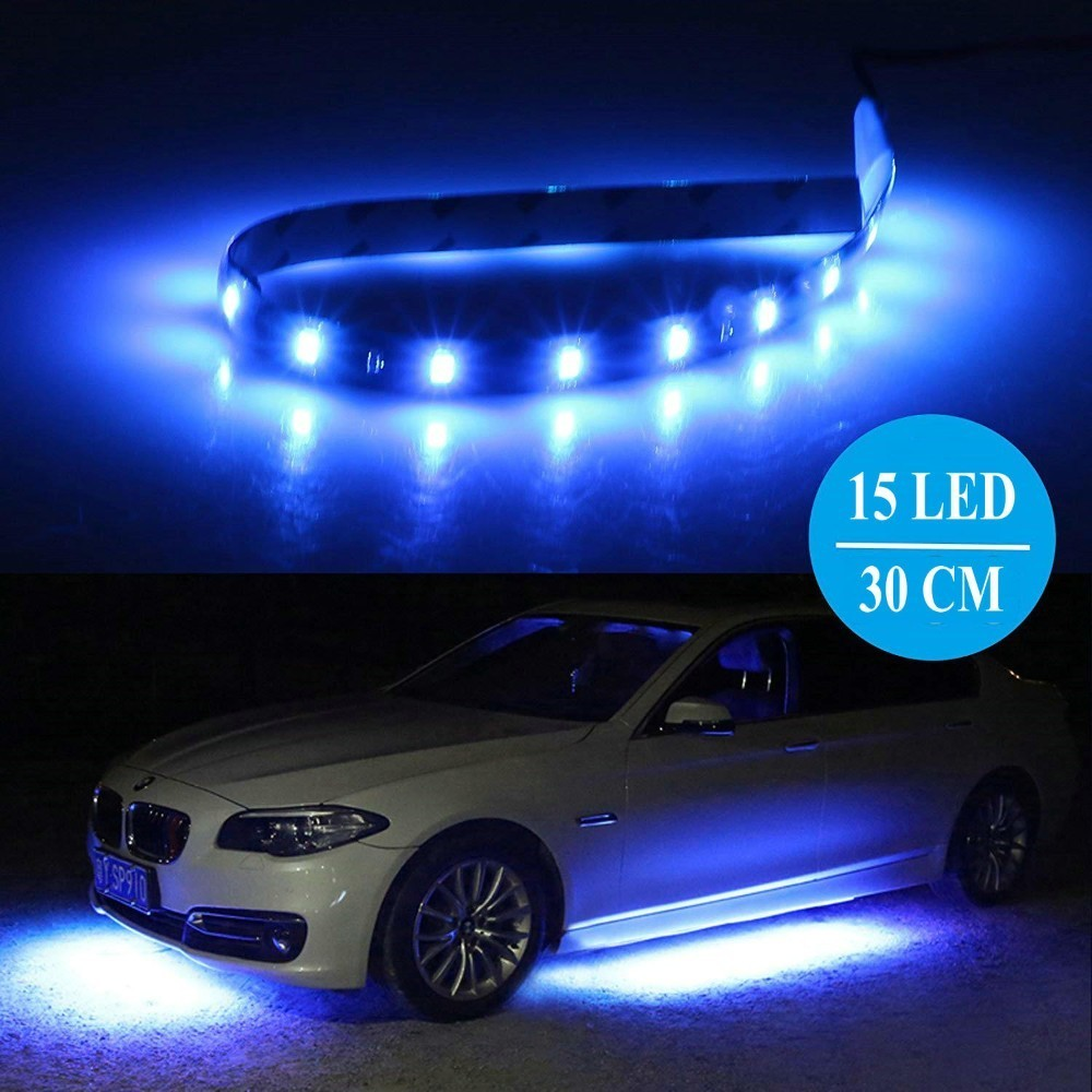 30CM 3528 SMD Strip Light 15 LED Flexible Bar Under Tube Underglow Underbody Boat Car Motorcycle Atmosphere Decorative Lamp 1PC car 8 led underbody colorful decorative light dc 12v