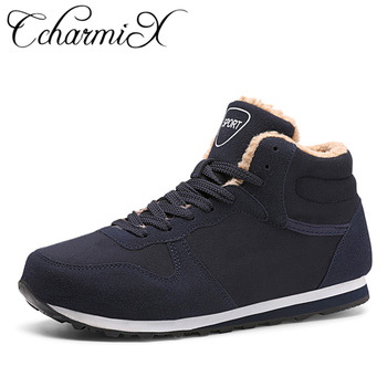 CcharmiX Big Size Men Shoes 2018 Top Fashion New Winter Casual Ankle Boots Warm Winter Fur Man Snow Boots Flock Leather Footwear
