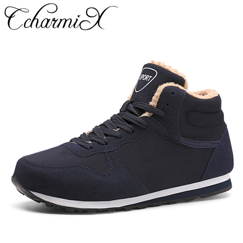 Ccharmix Large Measurement Males Sneakers 2018 Prime Vogue New Winter Informal Ankle Boots Heat Winter Fur Man Snow Boots Flock Leather-based Footwear