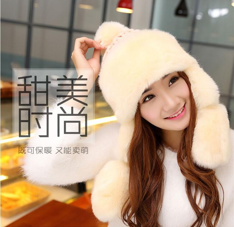 a7f92d4d38c Women Winter Bomber Hat Korean Version Faux Fur Earflap Trapper Hats Ski Cap  Warm Mongolia Princess Hat