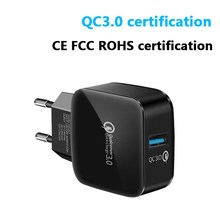 Qc 3.0 18W Fast Charger USB Charging for Iphone Single Port Usb Mobile Phone X Head Quick Samsung S10
