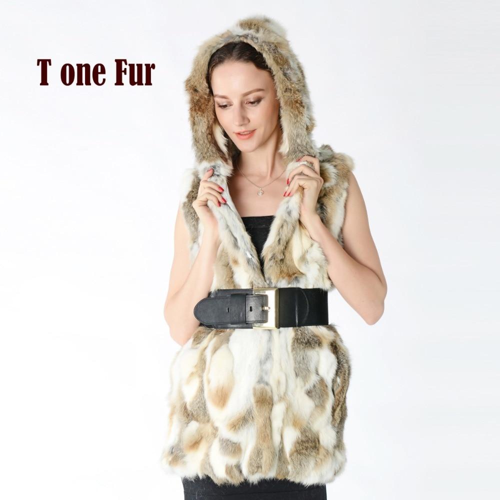 New Real Rex Rabbit Fur Vest with Hood Women Slim Rex Rabbit Fur Coat Winter Fur