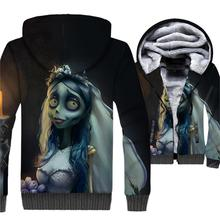 Movie 3D Hoodies Tim Burtons Corpse Bride Printing Warm Mens Jackets New 2019 Winter Harajuku Hooded Men Loose Fit Ourwear