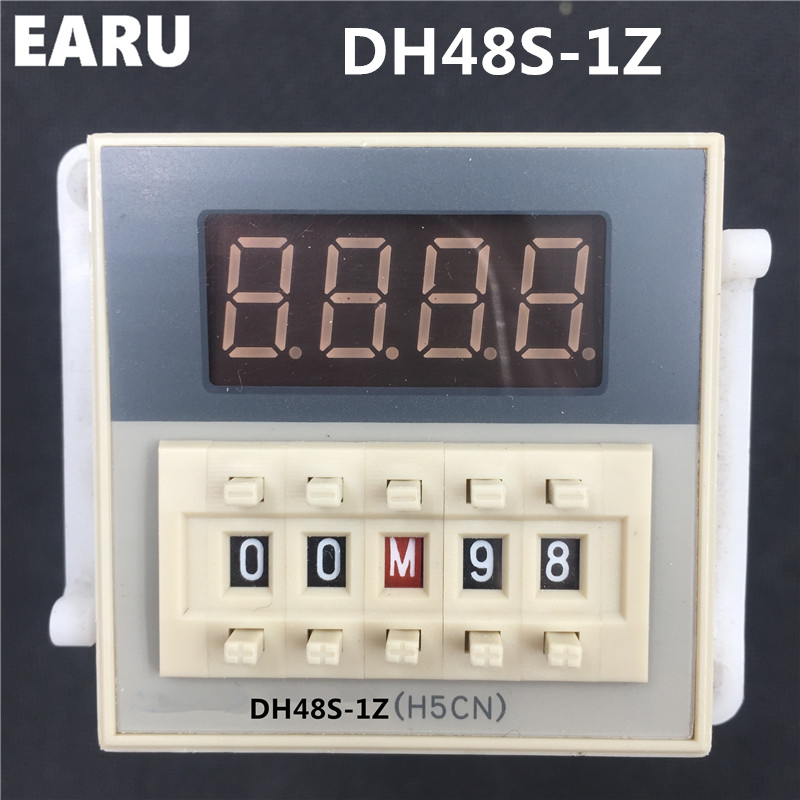 Free Shipping High DH48S-1Z Digital LED Programmable Timer Time Relay Switch DH48S  0.01S-99H99M DIN RAIL AC110V 220V 380V Base free shipping 14 pin general purpose relay socket base pyf14a din rail mount