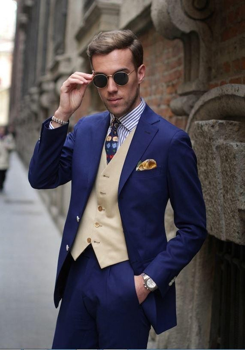 Classic Style Two Button 2017 Blue Groom Tuxedos Groomsmen Mens ...