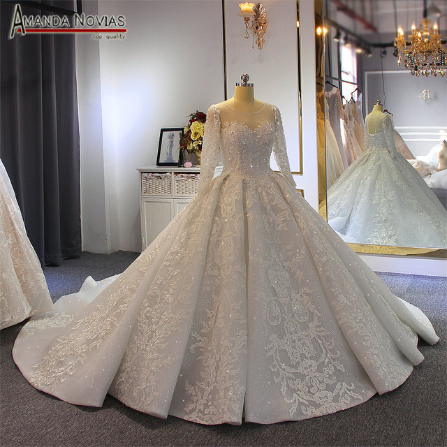 Luxury ball gown wedding dress long sleeves mariage 2020 with full beading