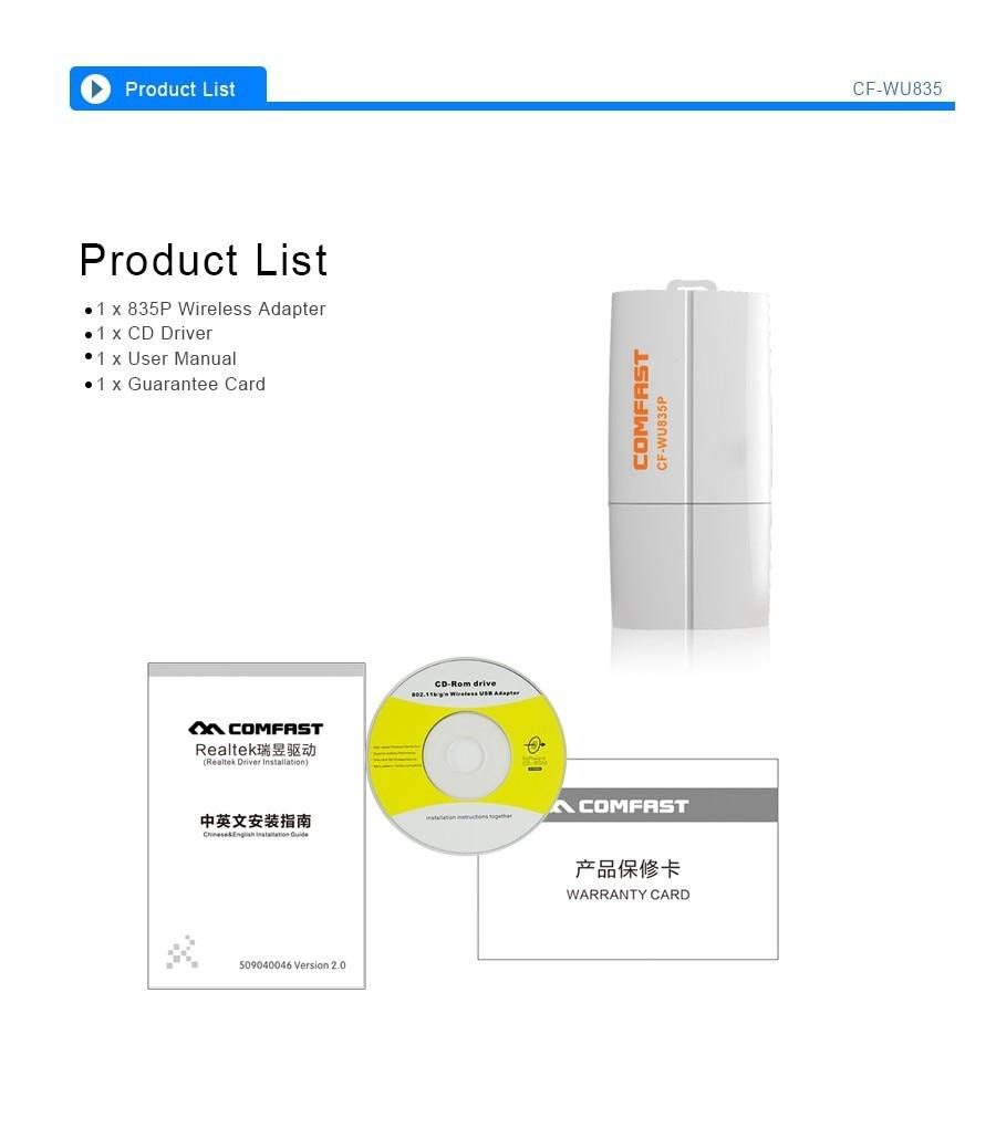 COMFAST CF-WU835P usb wireless wifi adapter 300mbps 2T2R Wi-Fi WPS RTL8192EU