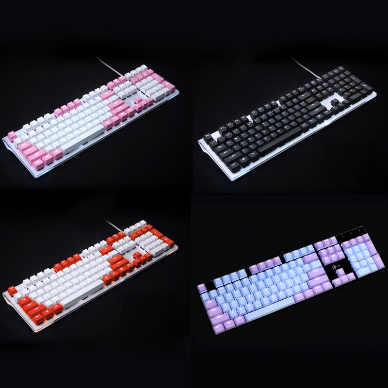1 Set Translucent Double Shot PBT 104 KeyCaps Backlit For Cherry MX Keyboard Switch Hot New
