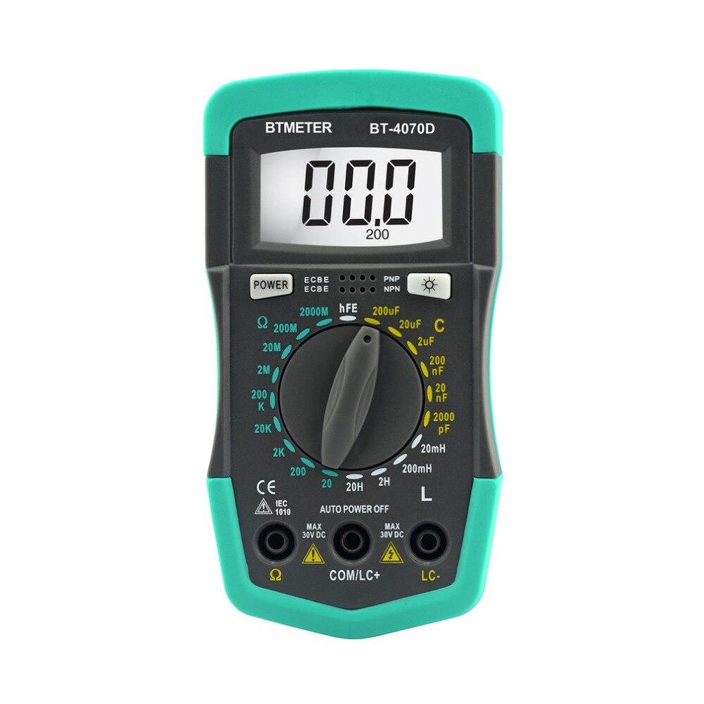 BTMETER HP4070D Mini Digital Multimeter Resistance Meter Capacitance Inductance Transistor Diode Tester LCD Backlight Ohmmeter