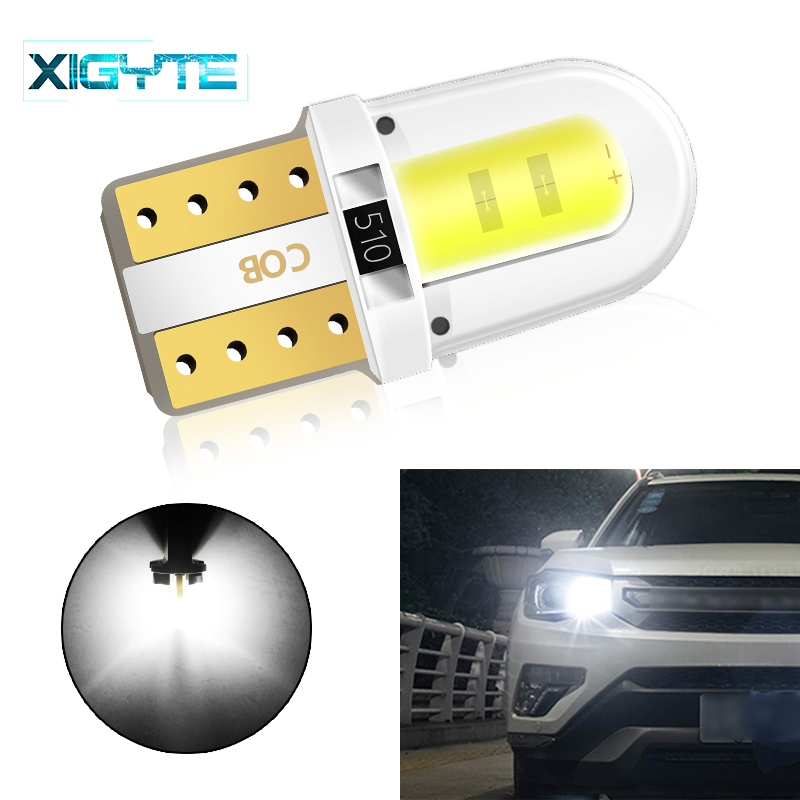 1x T10 LED W5W Led Bulb Car DRL 12V Auto Interior Lights Trunk Light Turn Side Lamp COB 194 168 Reading 6000K White Car Styling