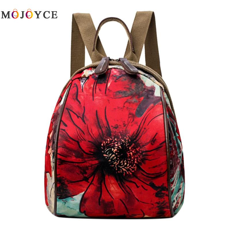 Vintage Women Backpacks Floral Print Oxford Cloth Shoulder Student Teenage Girl Causal Zipper Small Back pack Vintage Women Backpacks Floral Print Oxford Cloth Shoulder Student Teenage Girl Causal Zipper Small Back pack