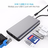 Type C HUB USB C to 4K HDMI VGA RJ45 SD USB 3.0 Dongle for laptop or smartphone with Type C Thunderbolt or USB C 3.1 Port