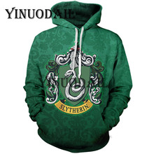 Fans Wear Slytherin 3D Printed Hoodie with Pocket Movie Cosplay Costume Slytherin Hoodies(China)