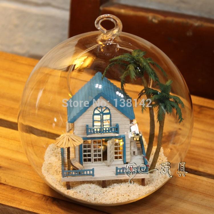 Diy Wooden Dollhouse Mini Glass Dollhouse Miniature Room: B002 Diy Doll House Glass Ball Miniature Wooden Dollhouse