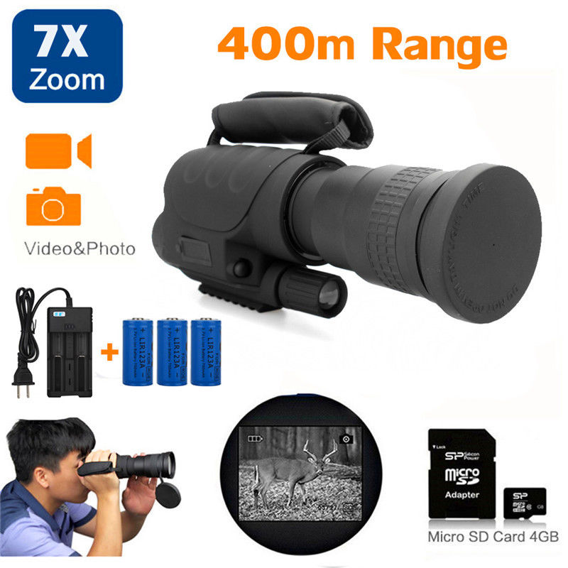 Rongland NV-760D+ Infrared Hunting Night Vision IR Monocular Telescopes 7x60+3 Batteries+Charger+4GB SD Card Video Record Device yunok sentinel 2 5x50 night vision riflescopes generation 1 infrared illuminator monocular hunting rifle scope tube based