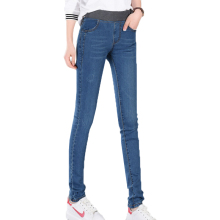 Hot 2019 New Spring Cowboy Pants Korean Female Blue Feet Pencil Fashion Slim Elasticated waist Women Jeans Trousers NO840