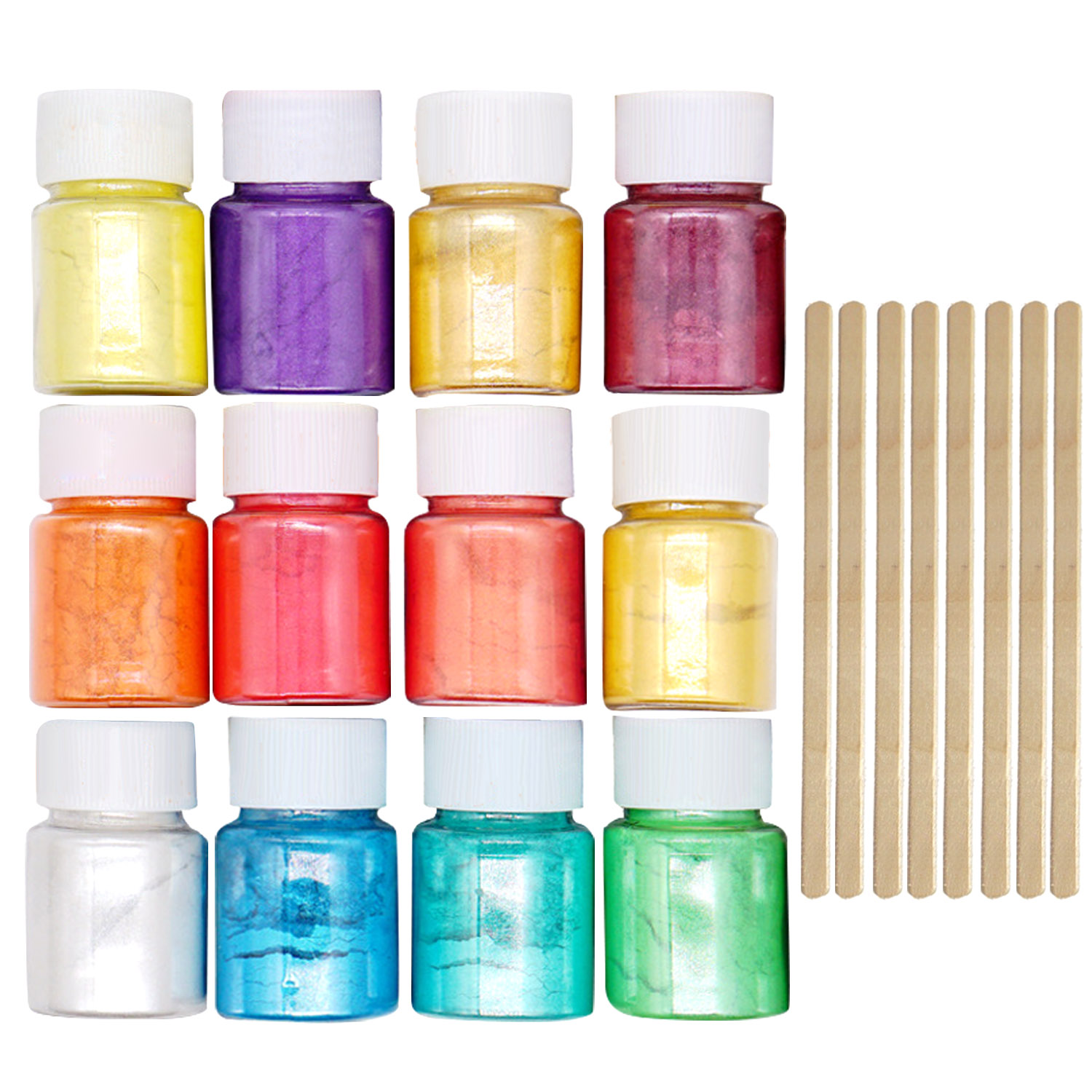 12 Colors Colorant Pigments Mica Pearl Powder With 8pcs Wooden Stirring Rods For DIY Nail Art Craft Slime Making Supplies