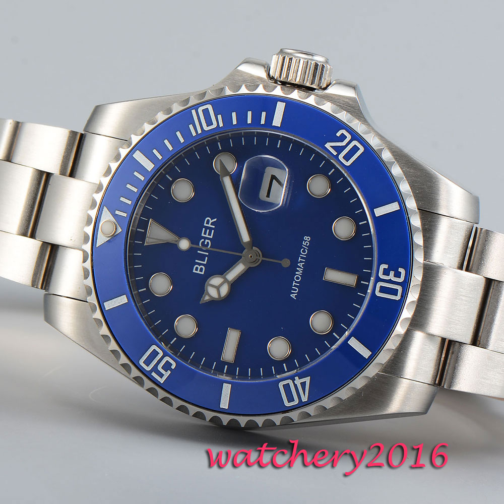 Casual 43mm Bliger sapphire glass blue dial date steel case luminous marks Automatic movement Mens WatchCasual 43mm Bliger sapphire glass blue dial date steel case luminous marks Automatic movement Mens Watch