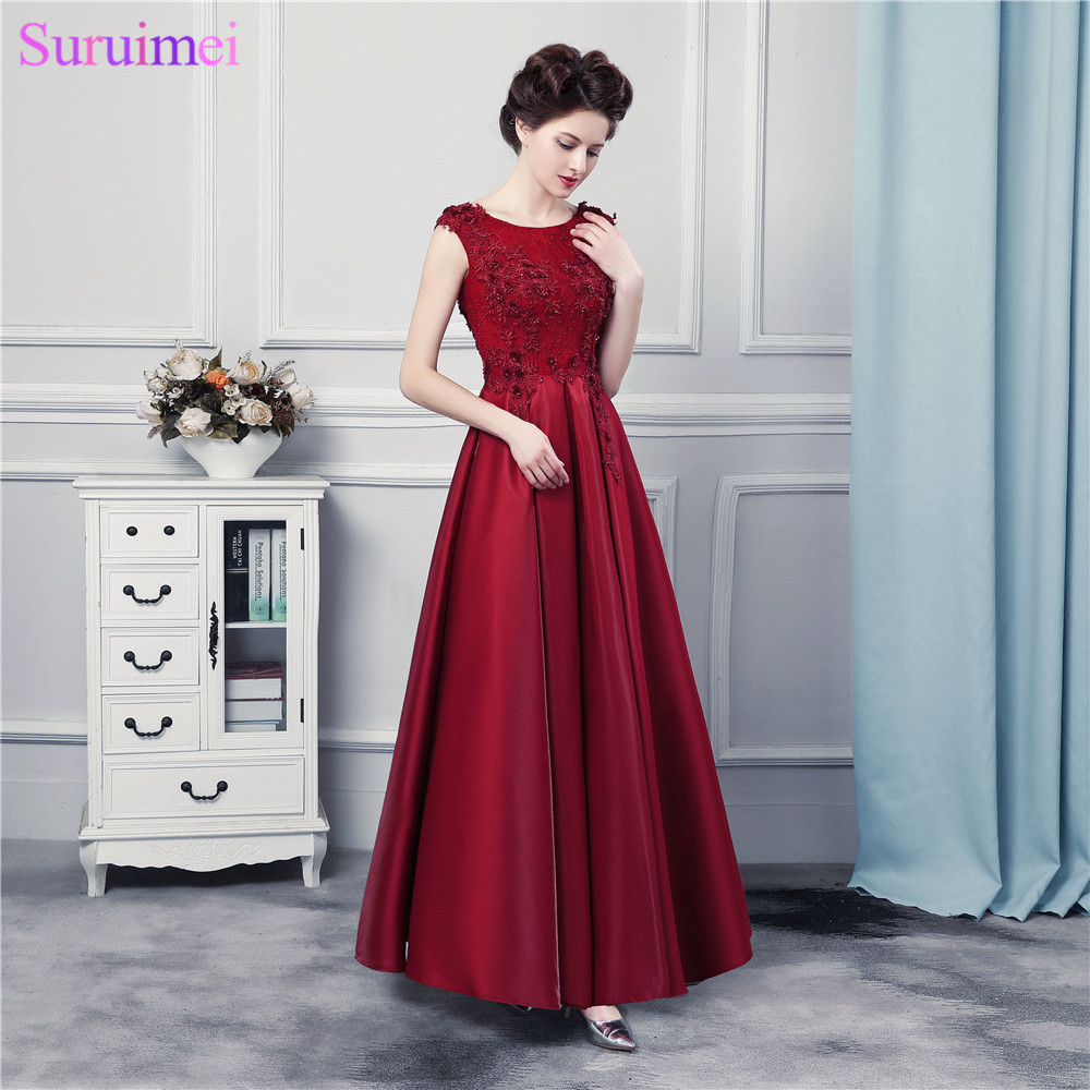 Burgundy Evening Dresses Long Satin Floor Length Lace Applique Corset  Evening Gown Formal Women Dress Free Shipping 6a607b060c36