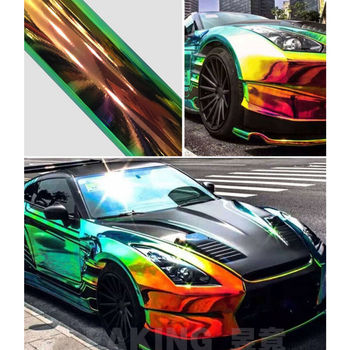 Black Holographic Rainbow Chrome Effect Car Wrap Film Air Bubble Free DIY Stickers Adhesive Car Body Protector Film 1.38x15m