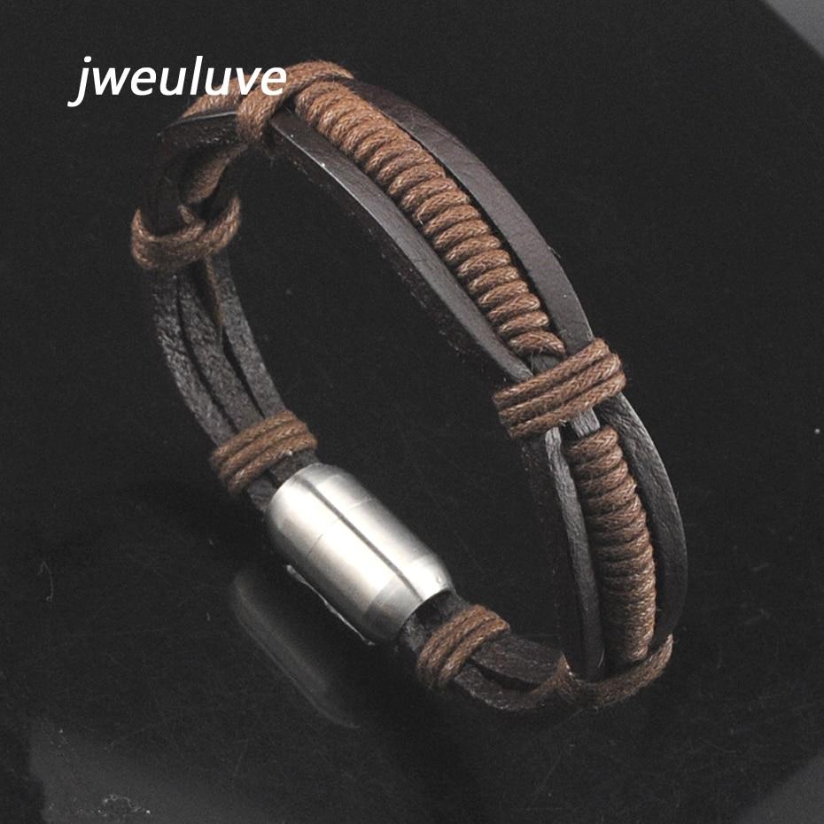 Silver black leather stainless steel handmade bracelet slim 22cm