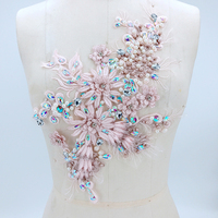 1Pc Lace Applique 3D Pearl Rhinestone Lace Fabric Flower Trims For Wedding Evening Dress Costume Lace Sewing Trimmings DIY Craft