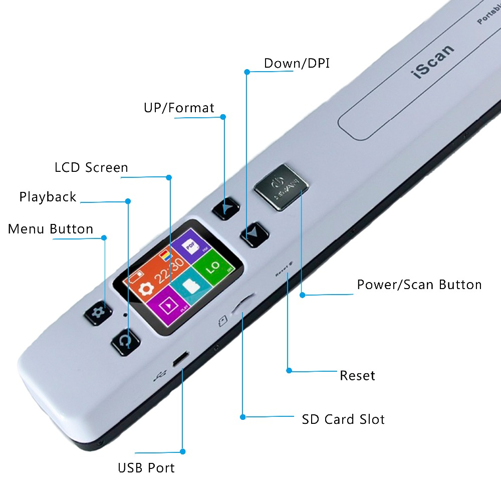 IssyzonePOS Portable Document Scanner Mini Handheld A4 Image JPG PDF Mobile Scanner WIFI with Micro SD TF Card for Book Scanning 14