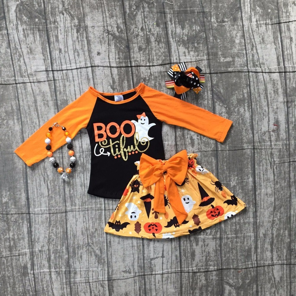 Fall/winter baby girls Halloween BOO tiful outifits ghost children clothes sets orange top with skirts with matching accessories halloween orange petal pettiskirt with matching white long sleeve top with orange ruffles