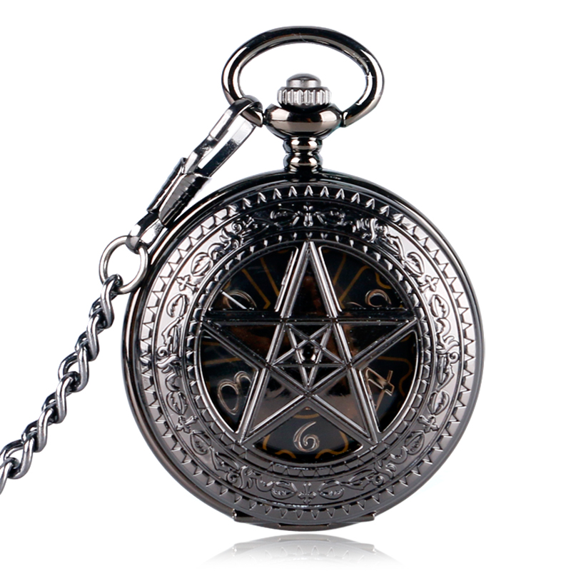 Hot TV Series Supernatural Theme Hollow Star Case Skeleton Steampunk Hand-wind Mechanical Fob Pocket Watches with Chain new black skeleton five star luxury hot stylish retro cool crown pattern hand wind mechanical pocket watch supernatural gift
