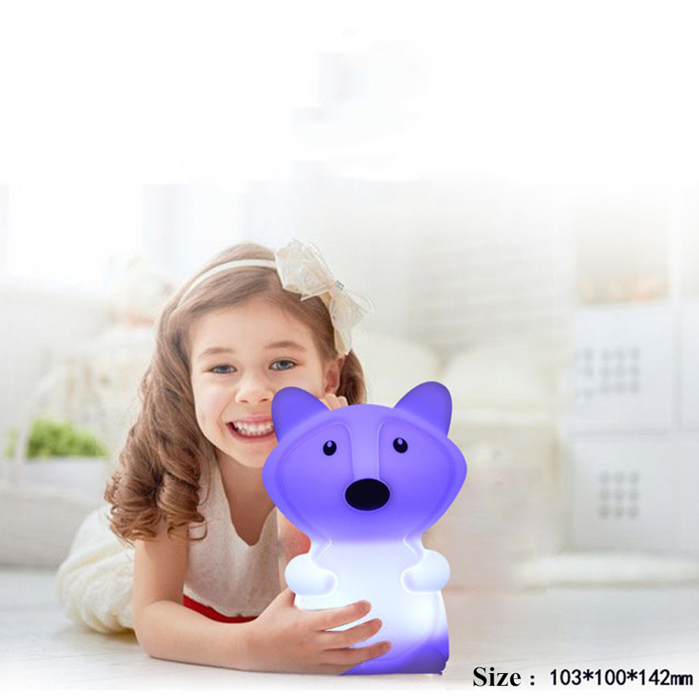 Cute Fox LED Night Light Touch Sensor 9 Colors Table Lamp Cartoon Silicone Bedside Lamp For Children Kids Baby Christmas Gift