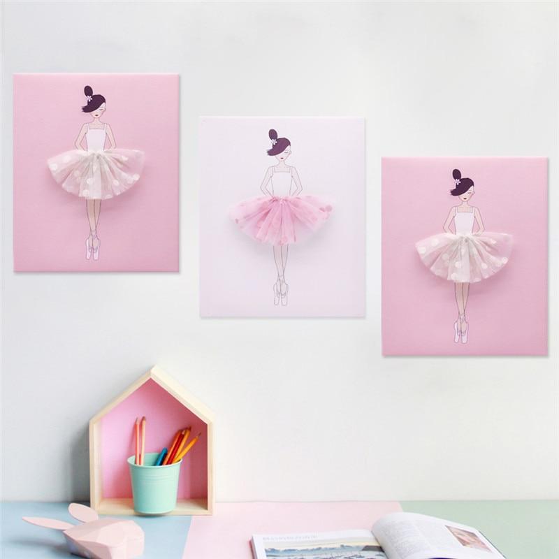 3 pcs/ensemble Nordique Moderne Rose Rose Ballet Fille toile de peinture Murale Affiches pour Kid Chambre Salon décoration d'intérieur œuvres d'art murales