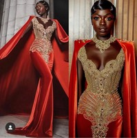 Africa Evening Gowns Beaded Crystal Prom Dresses 2019 Miss Pageant Dress With Cape Elastic Satin Long Formal Vestido Custom Made