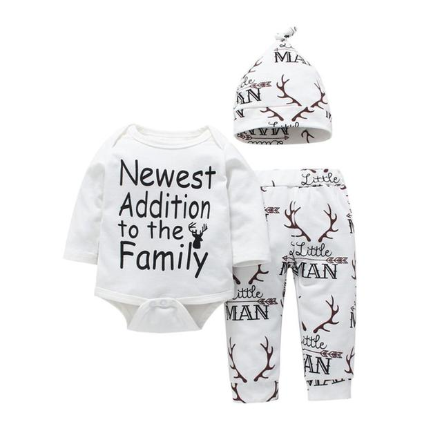 e903d525a8 Lovely Newborn Baby Girls Boys Deer Letter Print Tops+Pant 3PCS Outfits Set  Clothes meaningful words cute July 27