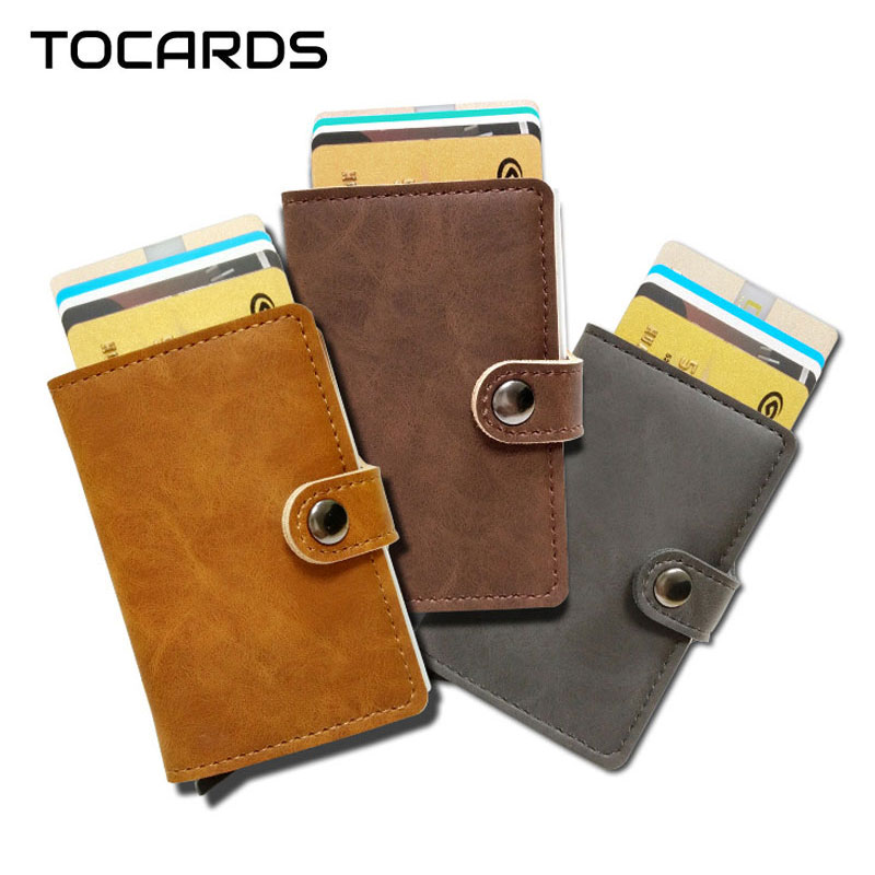 все цены на RFID Blocking Vintage Leather Credit Card Holder Men Aluminum Alloy Business ID Card Case Automatic Male Metal Cardholder Wallet онлайн