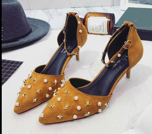 5..2017 new women shoes sexy high heels platform ankle pumps for women rivet Suede Word buckle Shallow mouth high heel shoes