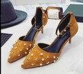 5 .. 2017 nueva women shoes tacones altos sexy tobillo de la plataforma bombas para las mujeres del Ante del remache de Palabra hebilla de la boca baja de tacón alto zapatos