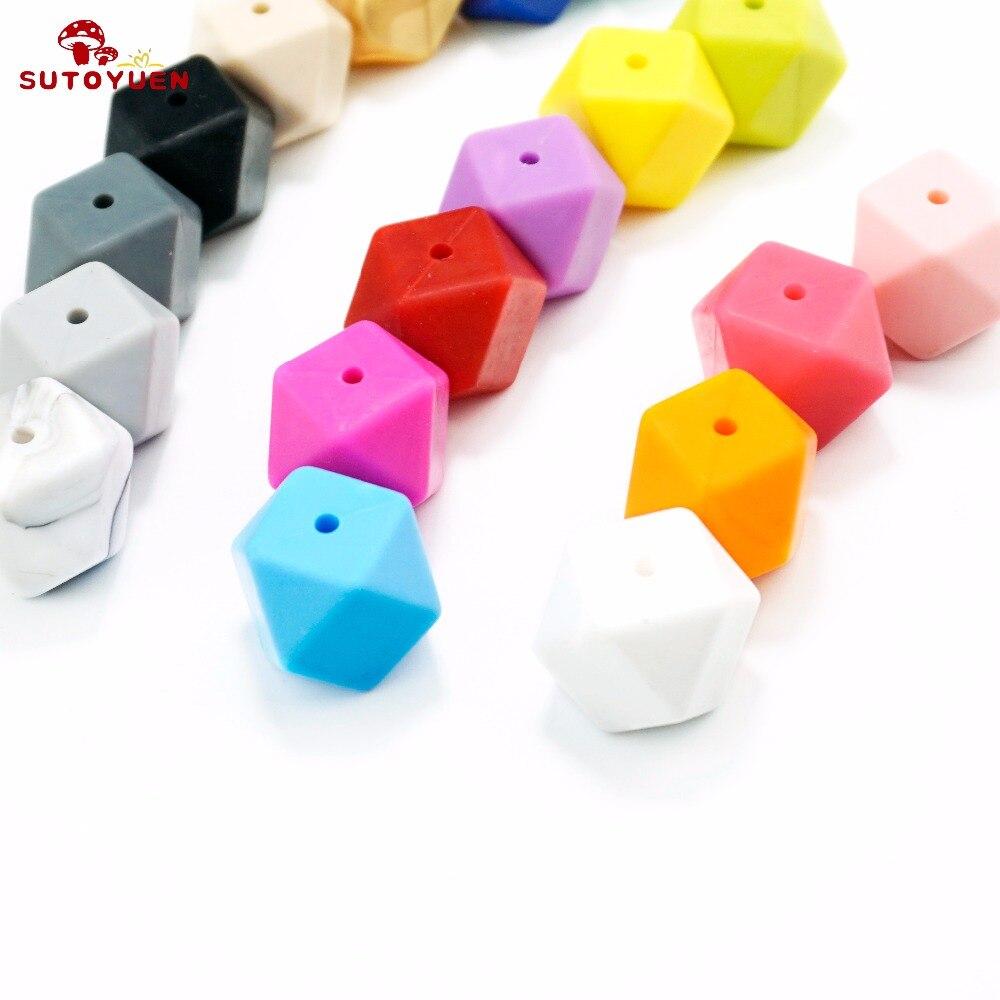 20szt 17mm BPA Free Hexagon Silicone Beads for Teether Silikonowy - Opieka nad dzieckiem - Zdjęcie 4