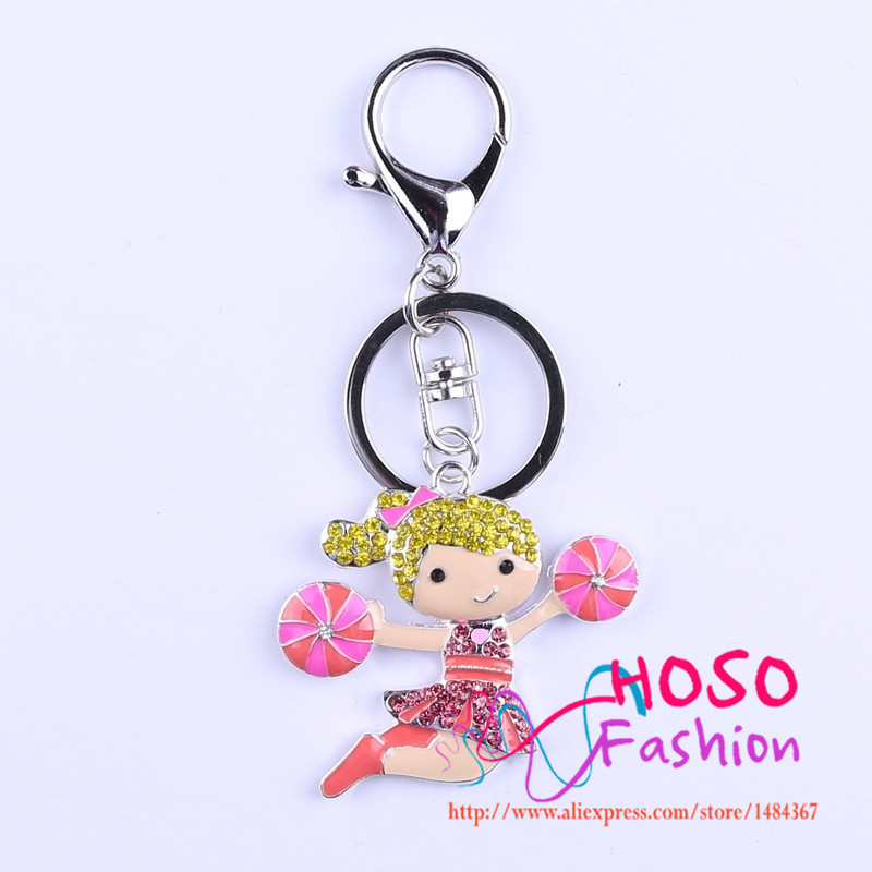 Free Shipping Fashion Pendant With Key Rhinestone Cartoon Cheerleaders Character Pendant Handmade Necklace Jewelry HSKC 602209