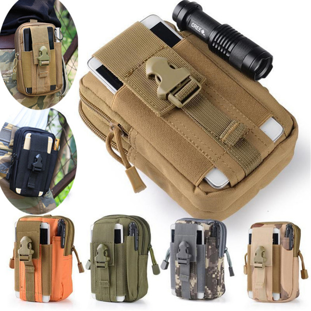 Universal Coldre Tático Militar Molle Ao Ar Livre Hip Cintura Belt Bag Bolsa Carteira Caso de Telefone Bolsa com Zíper para iPhone 7 /HTC