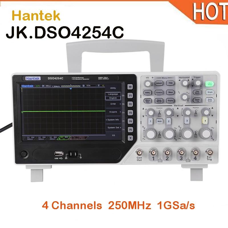 2018 HOT New Hantek DSO4254C 4CH 1GS/s sample rate 250MHz bandwidth Digital Storage Oscilloscope Integrated USB Host/Device цена