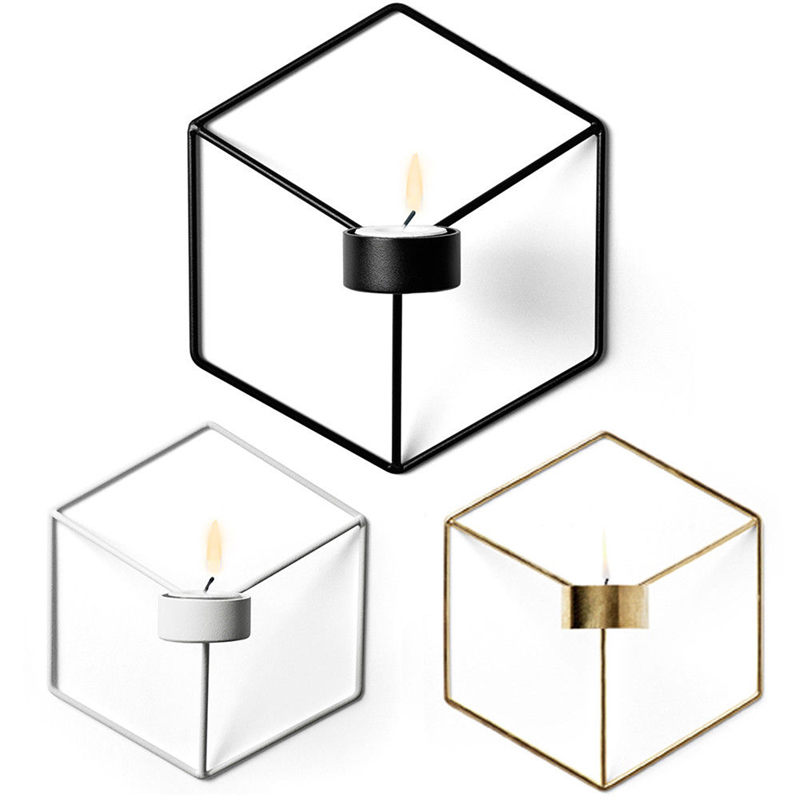 HOT Visual Touch Nordic Style 3D Geometric Candlestick Metal Wall Candle Holder Sconce M ...