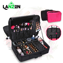 Lanzon Professional Beauty Cosmetic Bags Portable Travel Large Capacity Makeup Case Make Up Organizer Storage Bag Suitcases