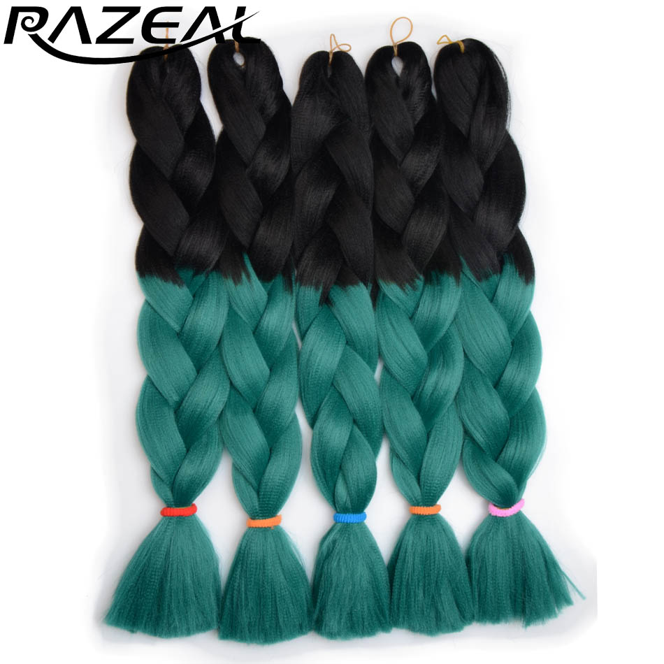 Hair Braids Razeal 24 Inch 100g Ombre Jumbo Braids 5 Pcs Synthetic Brading Hair Extensions Crochet Hair High Temperature Fiber