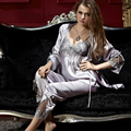 XIFENNI Brand Women Satin Silk Pajamas Embroidery Three-Piece Pyjama Sets Long-Sleeved Imitation Silk Sleepwear Plus 3XL 8306